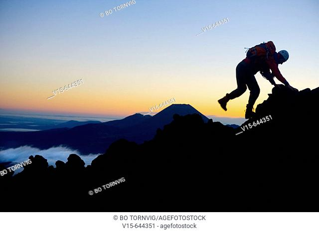 Mountaineering on Mount Ruapehu. New Zealand
