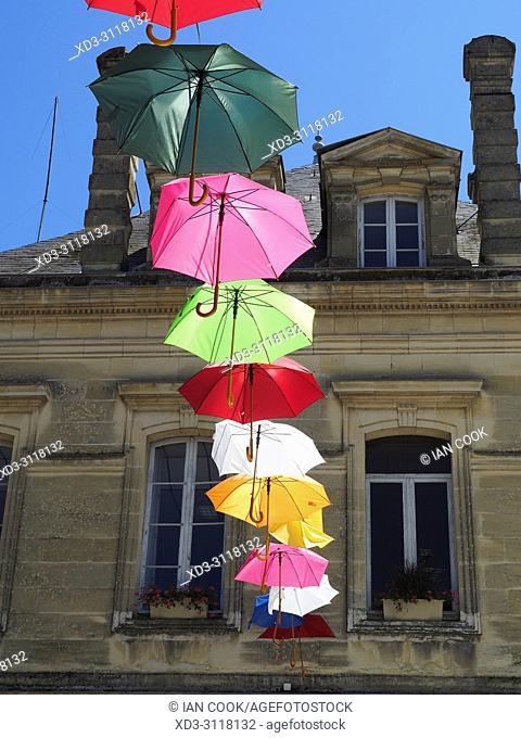 decorative parasols, Sainte-Foye-la-Grande, Gironde Department, Nouvelle-Aquitaine, France