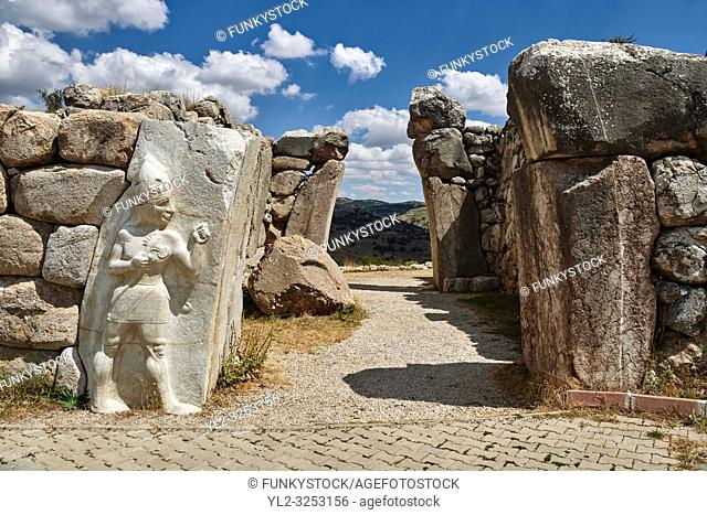 Picture & image of the Hittite Relief sculpture of the God of War of the Kings Gate. Hattusa (also Ḫattuša or Hattusas) late Anatolian Bronze Age capital of...