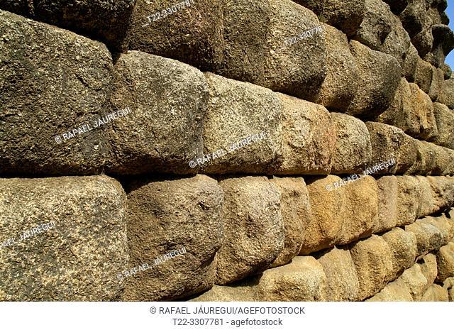 Merida (Spain). Stone ashlars of the Roman Amphitheater of Merida