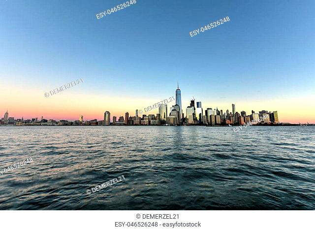 New York skyline as viewed across the Hudson River in New Jersey at sunset