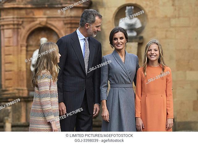 King Felipe VI of Spain, Queen Letizia of Spain, Crown Princess Leonor, Princess Sofia arrived to Alfonso II Square (Cathedral's Square) for Princesa de...