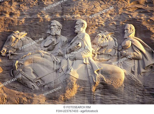 Stone Mountain, Stone Mountain Park, Atlanta, Georgia, The Confederate Memorial Carving of President Jefferson Davis, General Thomas Stonewall Jackson and...