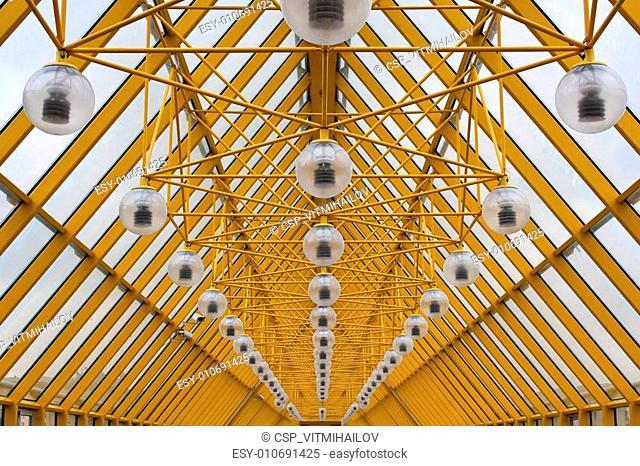 Yellow roof of Andrew\'s Bridge in Moscow