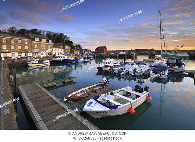 Padstow Harbour on the North Coast of Cornwall, captured at sunrise on a still morning in January