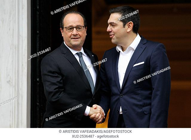 French President Francois Hollande meets with Alexis Tsipras during his visit in Athens in Maximos mansion. Hollande is heading to Athens for a two-day visit
