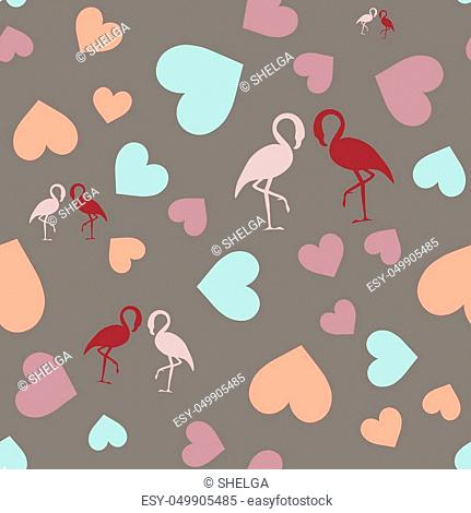 Seamless pattern with hearts and flamingo. Grey background. Paper for print or gift