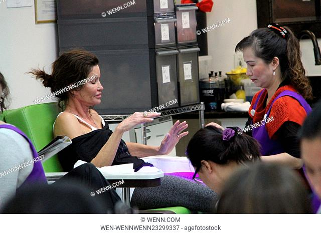 Make-up free Janice Dickinson treats herself to a manicure and pedicure at a salon in Beverly Hills Featuring: Janice Dickinson Where: Los Angeles, California