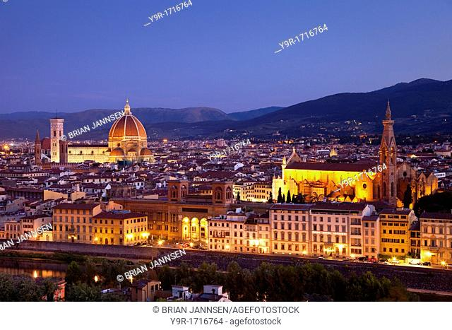 Early morning over Florence with the Duomo and Santa Croce churches, Tuscany Italy