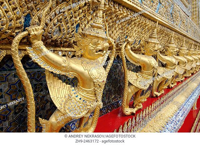 Garuda and Nagas, at the outside of the ubosot of Wat Phra Kaew - Temple of the Emerald Buddha; full official name Wat Phra Si Rattana Satsadaram