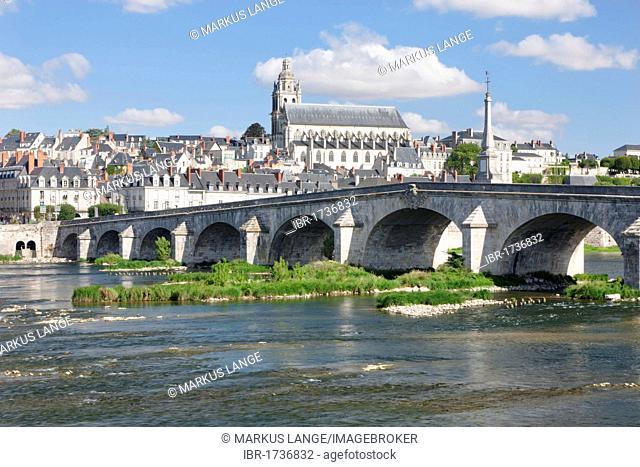 Cityscape of Blois with the Loire River bridge, Pont Jacques Gabriel, and Blois Cathedral, department of Loire et Cher, France, Europe