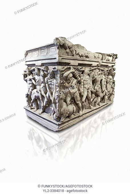 "Roman relief sculpted Hercules sarcophagus with kline couch lid, """"Columned Sarcophagi of Asia Minors'style typical of Sidamara, 250-260 AD"
