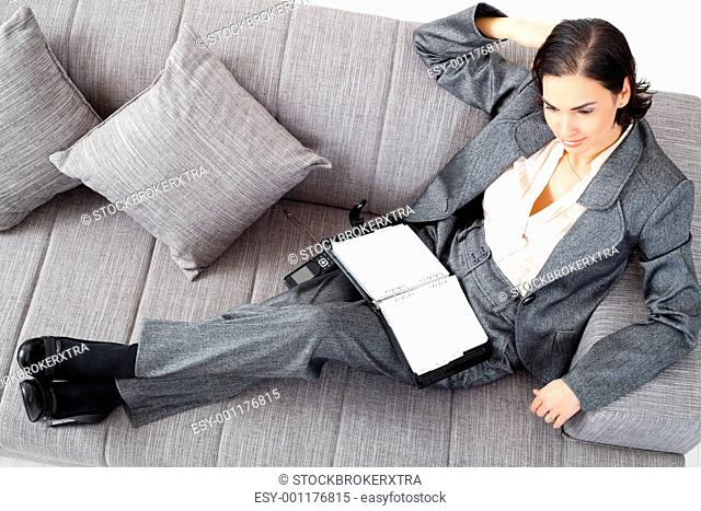 Businesswoman on sofa