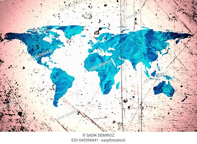isolated flat world map and water. NASA flat world map image used to furnish this image