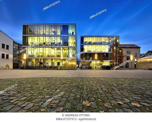 Germany, Thuringia, Weimar, Bauhaus University, night shot, illuminated glass cubes