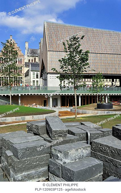 The modern Gentse Stadshal / Ghent Market Hall in the historic center of Ghent, Belgium