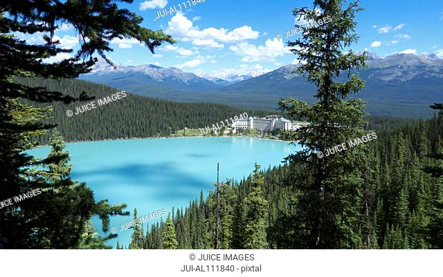Aerial View of Lake Louise with Chateau Lake Louise in Background, Banff National Park, Alberta, Canada