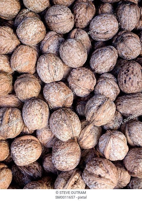 Market Display of Walnuts, Crete, Greece
