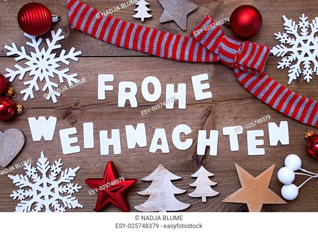White Letters With German Frohe Weihnachten Means Merry Christmas On Brown Wooden Background. Rustic, Vintage Style. Christmas Decoration, Christmas Tree
