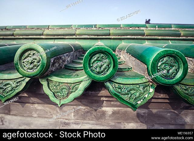 Wall with green tiles around Hall of Prayer for Good Harvests in Temple of Heaven, one of the mayor tourist attractions in Beijing, capital city of China