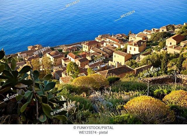 Arial view of Monemvasia Byzantine Island catsle town with acropolis on the plateau. Peloponnese, Greece