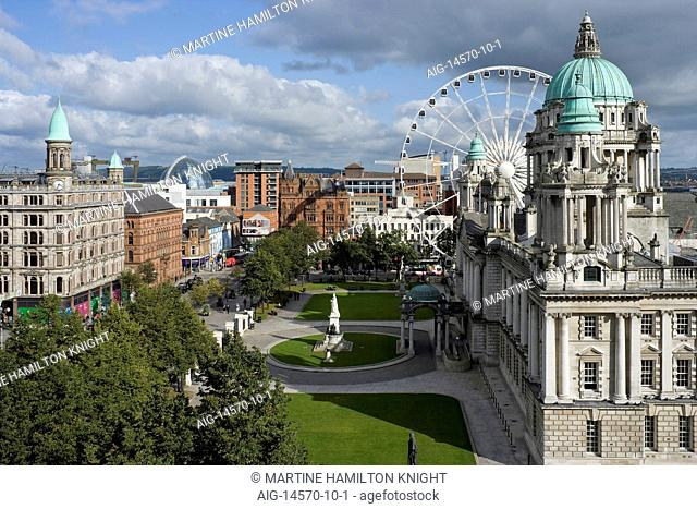View over Donegal Square with City Hall on the right. Victoria Square's dome is to the rear