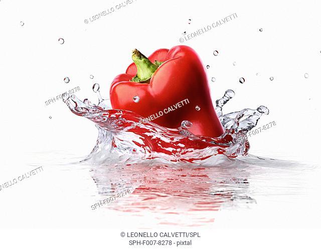 Pepper splashing into water, computer artwork