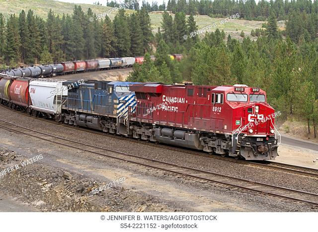 A Canadian Pacific mixed manifest freight train at Scribner Siding, Marshall, Washington, USA