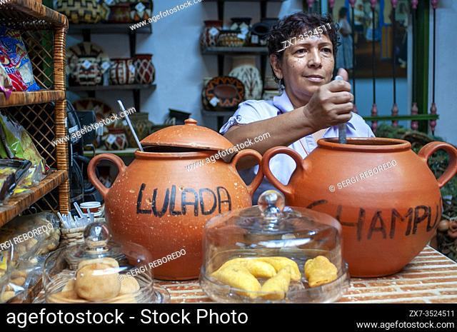 Lulada and chapus juice shop in the Fruit market Galeria Alameda in Cali, Departamento Valle del Cauca, Colombia, Latin America, South America.