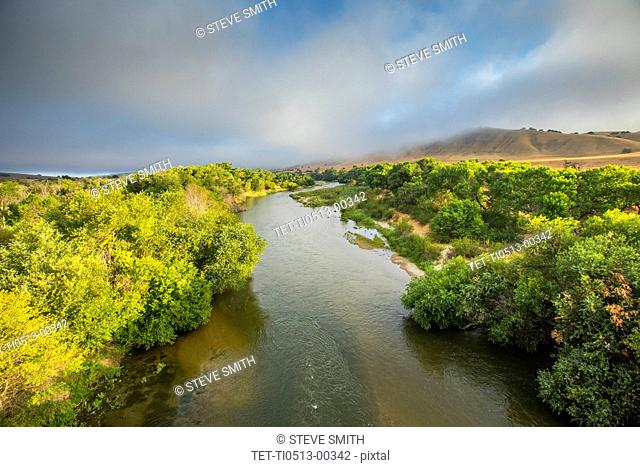 Treelined river in Paso Robles, California, USA