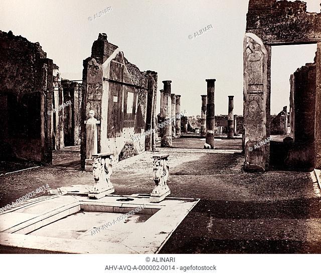 View of the House of Cornelio Rufo in Pompeii (I century BC - I century AD), shot 1890 ca. by Sommer, Giorgio