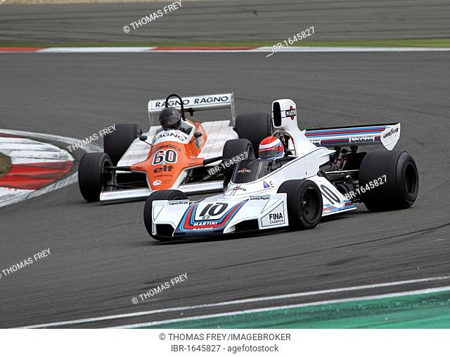 Race of the historic Formula 1 cars, Manfredo Rossi de Montelera in the Brabham BT42 from 1974 in front of David Abbott in the Arrows A4 from 1982