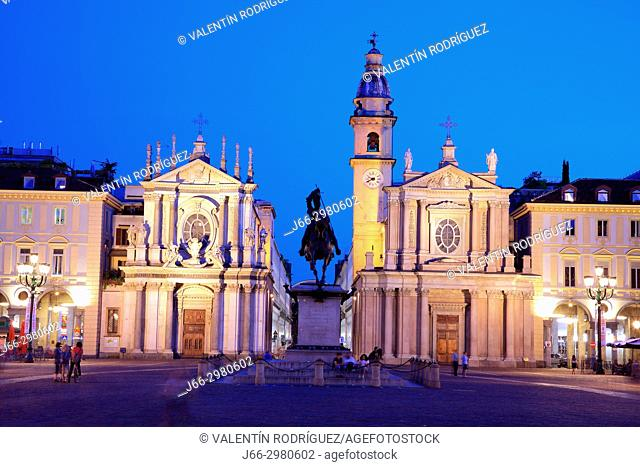 Piazza San Carlo. Santa Cristina church of 1639 (left) San Carlo church of 1619 (right). Both baroque. Turín. Italy