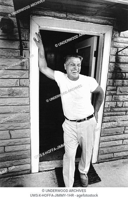 Michigan: November 4, 1974.Labor leader and former Teamster president James Hoffa laughing in the doorway of his home during an interview with ABC