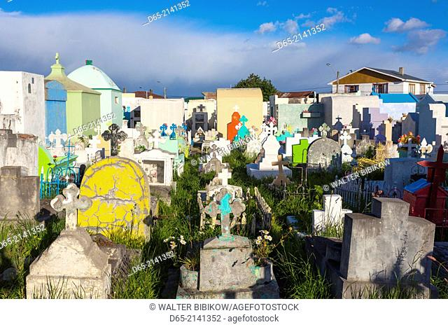 Chile, Magallanes Region, Puerto Natales, detail of town cemetery