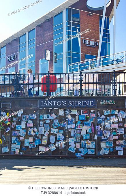 Ianto's Shrine, Mermaid Quay, Cardiff Bay, Cardiff, Wales, United Kingdom. Memorial to fictional character killed off in the 3rd series of Torchwood a Doctor...