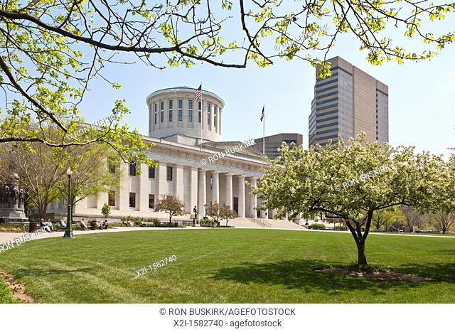 The Ohio Statehouse in downtown Columbus, Ohio