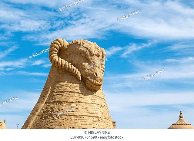 ANTALYA, TURKEY - APRIL 23, 2016 : View of big sand sculpture of mythological characters made in Lara Beach, Antalya for sandland project