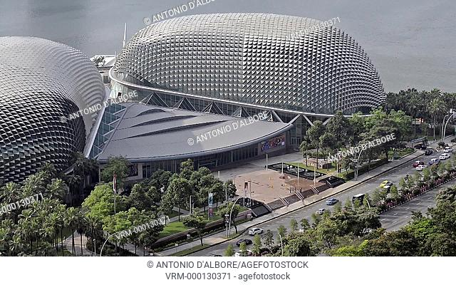 Aerial daytime view of Esplanade - Theatres on the bay. Singapore