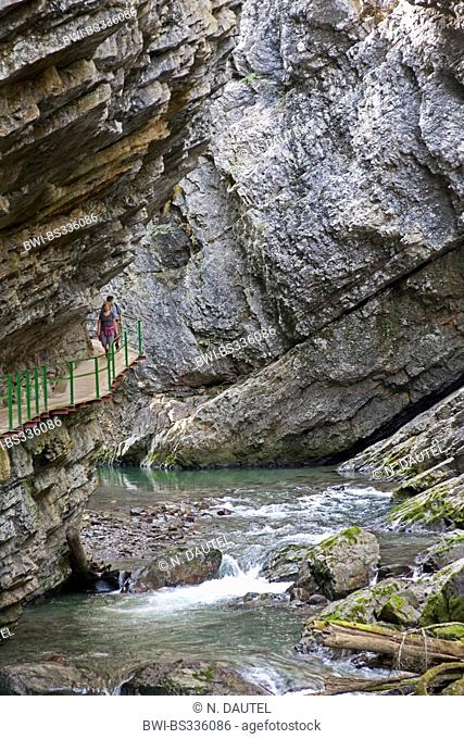 view through the Breitachklamm in the Kleinwalsertal, Germany, Bavaria