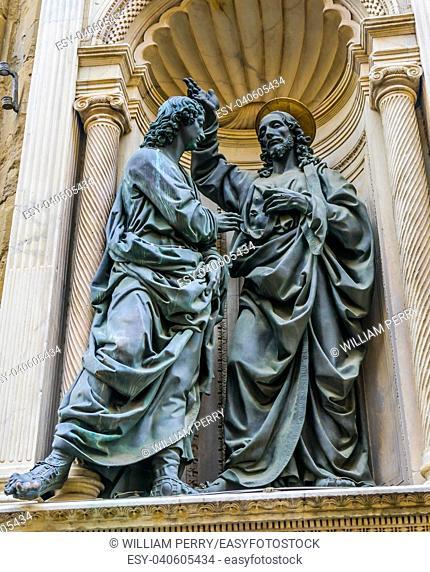 Christ Saint Thomas Statue Orsanmichele Church Florence Italy. Statue by Andrea del Verrochio 1475