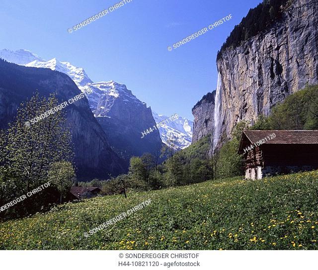 scenery, landscape, mountains, Alps, Staubbachfall, waterfall, rock, Lauterbrunnental, Lauterbrunnen Valley, Bernese O