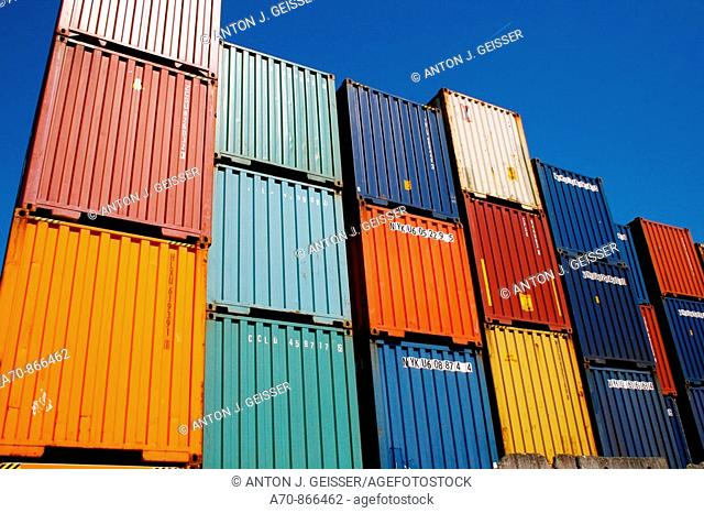 Cargo containers. Harbour. Hamburg. Germany