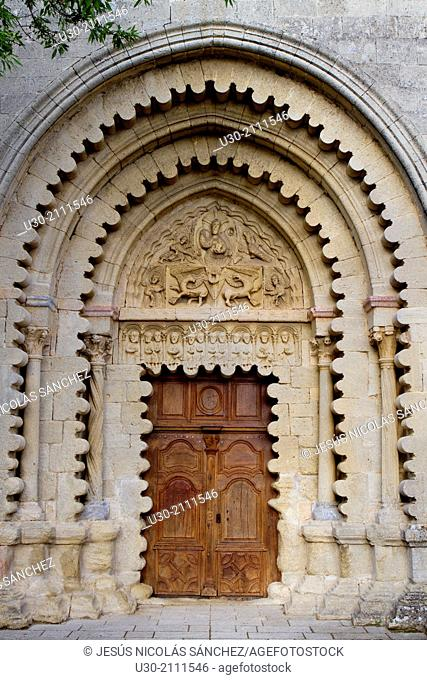 Main door of benedictine abbey of the Notre-Dame, Ganagobie, Forcalquier district, in Alpes-de-Haute-Provence department, Provence-Alpes-Côte d'Azur region
