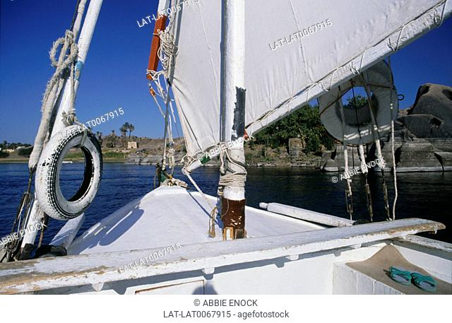 The sail rigging and prow deck on board a traditional felucca boat on the River Nile