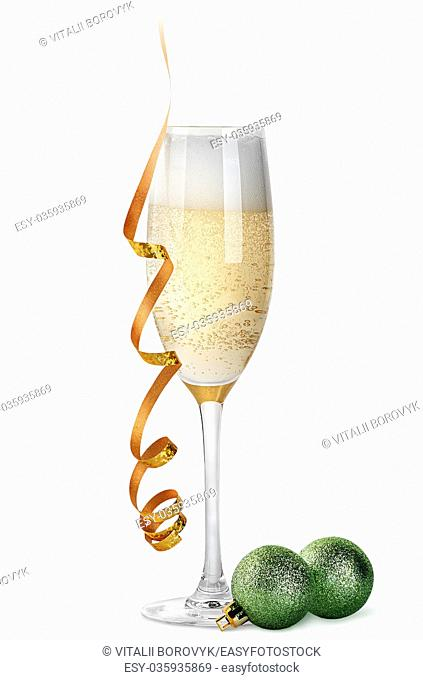 Glass of champagne and Christmas balls isolated on white background