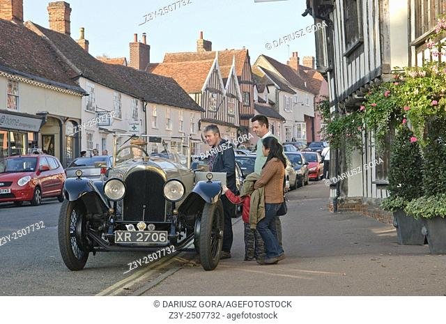 Classic vintage Bentley parking in the front of Swan Hotel in Lavenham, Suffolk, UK