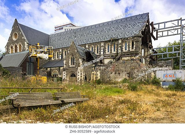 Christchurch cathedral, partially destroyed by 2011 Christchurch earthquake. New Zealand
