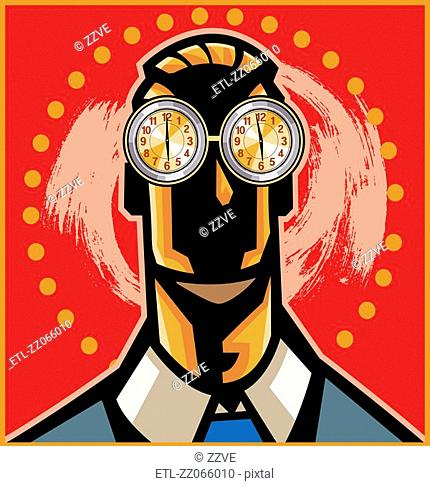 Man with clocks for eyes