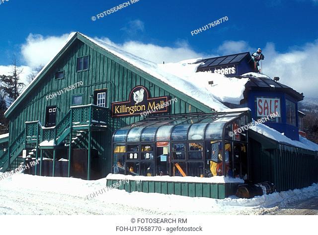 mall, Killington ski resort, store, winter, Killington Mall Shopping Center in the snow in Killington in Rutland County in the state of Vermont